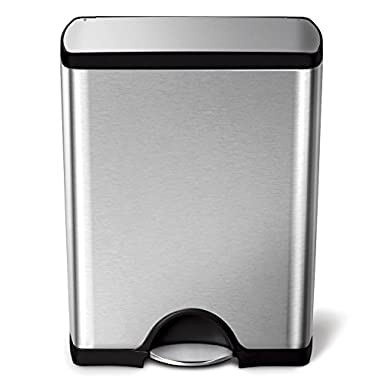 simplehuman 50 Liter/13.2 Gallon Stainless Steel Rectangular Kitchen Step Trash Can, Brushed Stainless Steel