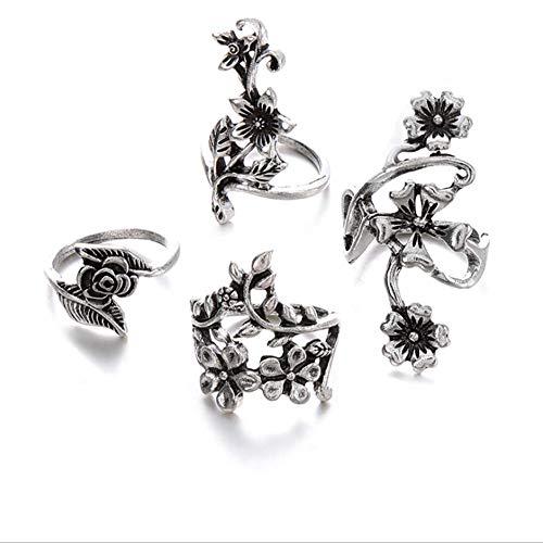 Holle ring mode-persoonlijkheid oude zilveren pak bloem 4-delige ring vrouwelijke mode wilde sieraden geschikt voor cadeau