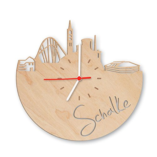 GRAVURZEILE Skyline Schalke Wanduhr aus Birken-Holz Made in Germany Design Uhr aus Echtholz Wand-Deko aus Birke Originelle Wand-Uhr Moderne Wand-Uhr im Skyline Design Wand-Dekoration aus Natur-Holz