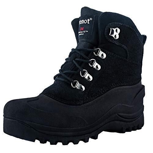 riemot Botas de Nieve para Hombre y Mujer, Botas de Senderismo Impermeables Deportes Trekking Zapatos Invierno Cálido Forro de Piel Antideslizante Sneakers, para Exterior, Casuales Negro EU 38