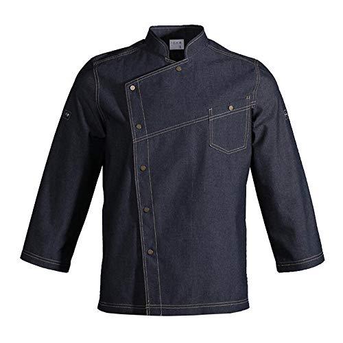 WMOFC Unisex Herren Und Damen Langarm Chef Jacket Uniform,Kochjacke Westliches Essen Restaurant Küche Hotel Uniform Berufsbekleidung,S