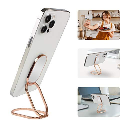 APEKX Soporte de anillo de teléfono celular de metal con agarre de soporte, rotación de 360 ° y 180 ° Flip compatible con Android - oro rosa