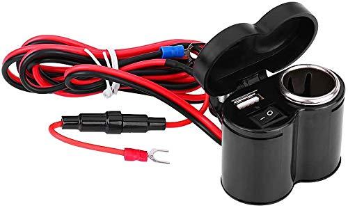 Jankr Encendedor de Cigarrillos de Motocicleta de 12 V, Adaptador de Cargador de Toma de Corriente USB Dual, Interruptor de Encendido y Apagado, Abrazadera de Manillar para teléfonos/tabletas/GPS