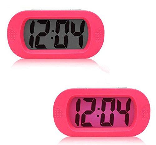 Moon mood Réveil Alarme Horloge Numérique, Petit LED Réveil Matin Snooze Silencieux LCD Grand écran Horloge Lumineuses Batteries Silicone Réveil de Voyage Electronic Lazy Smart Alarm Clock (Rose)