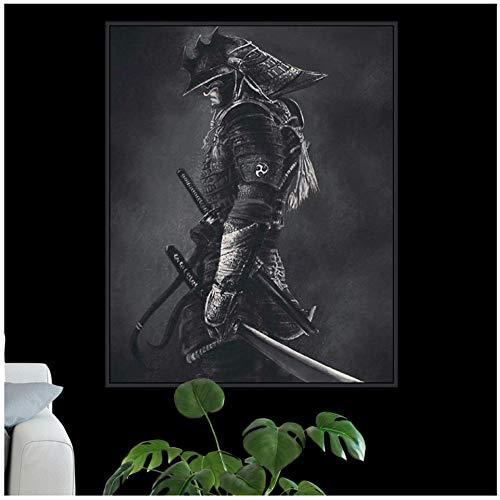 """ZHANGPENGBOFBH Cuadro en Lienzo Arte de la Pared Carteles e Impresiones Samurai Cuadros Modernos Resumen para la Sala de Estar Decoración del hogar 50x70cm (19.7""""x27.6) con Marco"""