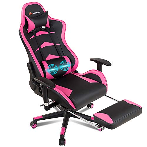 POWERSTONE Gaming Chair - Pink Ergonomic Gaming Chair with Footrest for Women Racing Esports Computer Chair High-Back Lumbar Massage Leather Recliner Rolling Swivel Chair (Pink)