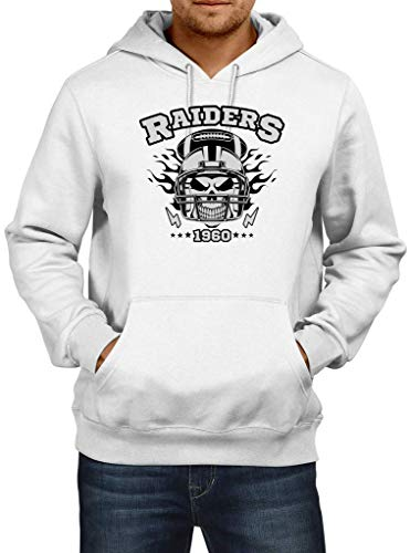 Shirt Happenz Raiders American Football Oakland 1960 Super Bowl Hoodie Herren Kapuzenpullover, Größe:L, Farbe:Weiß