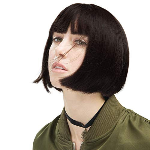 REECHO Short Bob Wig with bangs Synthetic Hair for White Black Women Cosplay Color: Black Brown