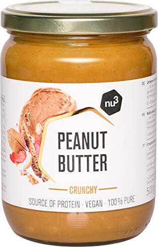 nu3 Erdnussbutter Crunchy – Peanut Butter – 500g pure natürliche Erdnussbutter - Erdnussmus Vegan & ohne Zucker - keine Zusätze von Salz, Öl oder Palmfett - 28g Protein pro 100g - glutenfrei