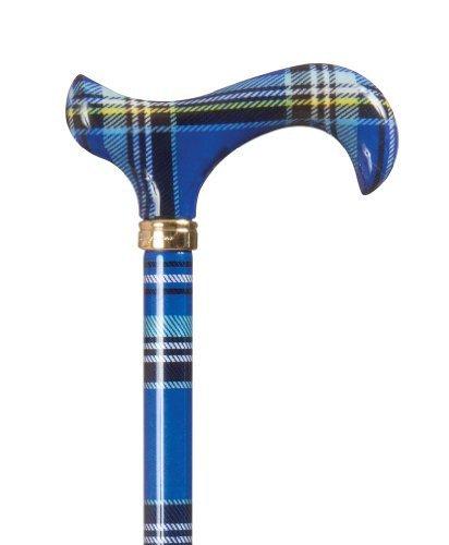 Fashion Derby Adjustable Walking Stick - Blue Tartan by Classic Canes