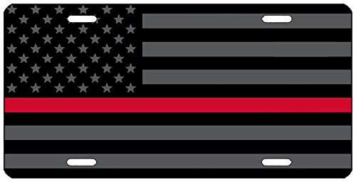 Rogue River Tactical Thin Red Line Firefighter Lives Matter Flag License Plate Novelty Auto Car Tag Vanity Gift for Fire Fighters