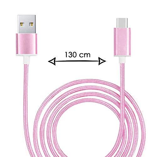 Kabel type C voor Xiaomi Mi 9 SE, USB-kabel, gevlochten, nylon, 1,3 meter, oplaad-/synchronisatiekabel, type C - roze