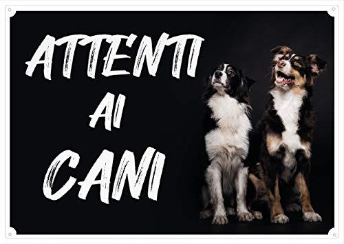 """Cartello Targa """"ATTENTI AI CANI"""" da Cancello STYLE cm 30 x 21,5"""