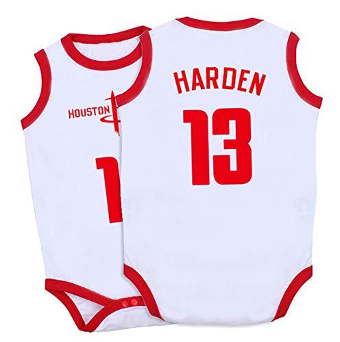 YANGLIXIA Bodysuits Harden Houston #13 Fans ärmelloser Jumpsuit Basketball Trikots Krabbelanzug Sui Playsuit Atmungsaktive Sets Strampler für Jungen Mädchen Weiß - 90 cm