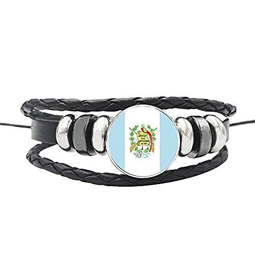 pyongjie Pulsera de la Bandera de la nación Botones de cúpula de Cristal Canadá Estados Unidos México Jamaica Salvador Cuerda de Cuero Brazalete Joyería