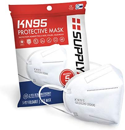 SupplyAID RRS KN95 5PK KN95 Protective Mask Protection Against PM2 5 Dust Pollen and Haze Proof product image