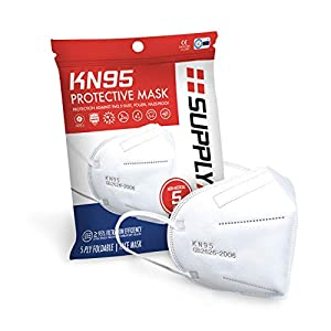SupplyAID RRS-KN95-5PK KN95 Protective Mask, Protection Against PM2.5 Dust. Pollen and Haze-Proof, 5 Pack