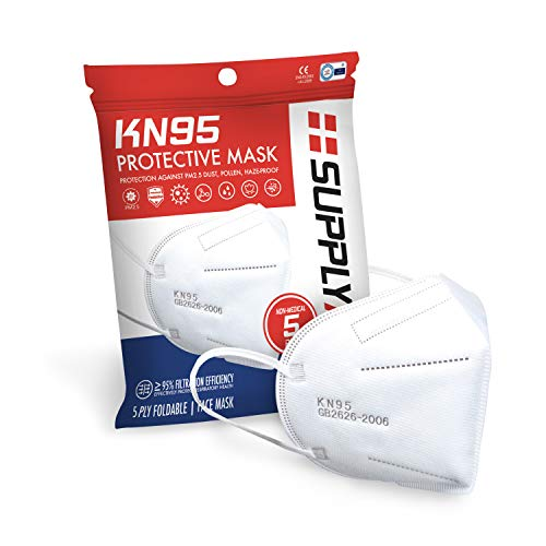 SupplyAID RRS-KN95-5PK KN95 Face Mask for Protection Against PM2.5 Dust, Pollen and Haze-Proof, 5 Pack, White