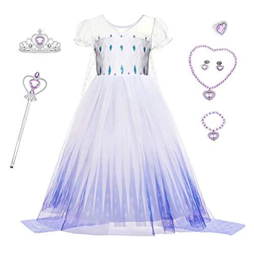 SZ-TONDA White Ice Queen Costume Dress Up - Girls Snow Princess Act2 Halloween Birthday Party Cosplay Accessory Jewelry Short Seelve