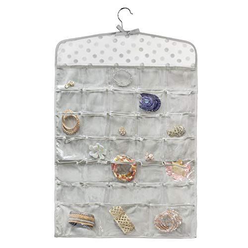 Once Upon a Rose Hanging Jewelry Organizer, Over The Door Jewelry Organizer, Double Sided with Clear Pockets, 17' x 30', Includes Hanger (Polka Dot Print)