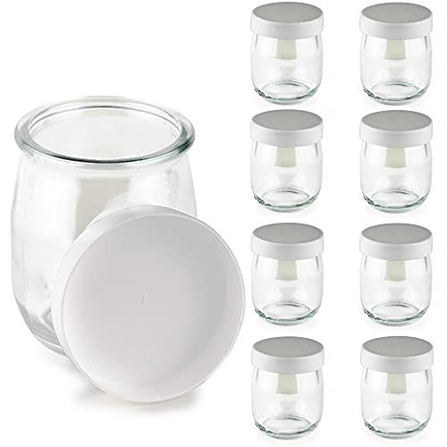 Vasos yogurtera de vidrio con tapa blanca 9 unidades. tarros para postres, botes para yogur, vasos para condimentos