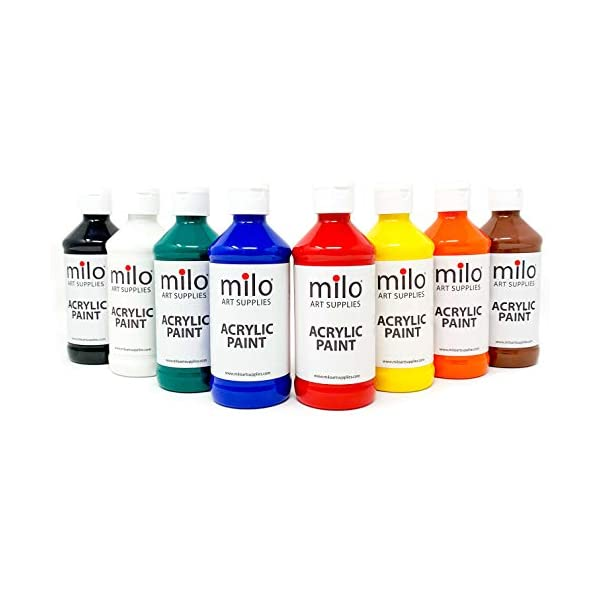 milo-Acrylic-Paint-Set-of-8-Colors-8-oz-Bottles-Student-Primary-Colors-Acrylics-Painting-Pack-Made-in-the-USA-Non-Toxic-Art-Craft-Paints-for-Artists-Kids-Hobby-Painters