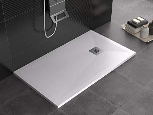 Plato de ducha de color antracita, de mineralmármol, superficie de efecto pizarra, serie Lion, Slim 3 cm, revestimiento de Gelcoat, antideslizante (80 x 170)