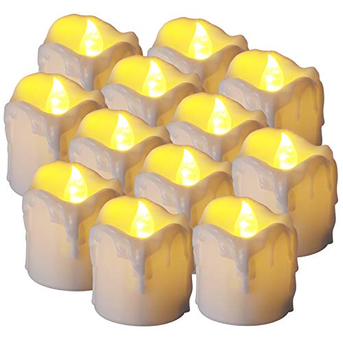 Ymenow LED Flameless Tea Lights, Set of 12 Flickering Battery Candles with 6 Hours Timer, 1.41×1.7 Inches for Home Table Room Party Festival Christmas New Year Decoration - Warm White