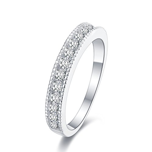 Sreema London Half Eternity 925 Sterling Silver Ring - AAAAA Cubic Zirconia Eternity Style Ring with Gift Box (K)