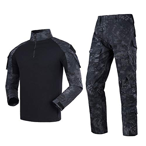 Tactical Gear Airsoft-Kleidung, Combat-Shirts, Hosen für Herren, taktischer Anzug, Ripstop, Multicam, Paintball, Military, BDU, Jagduniform Gr. XL, Schwarze Python
