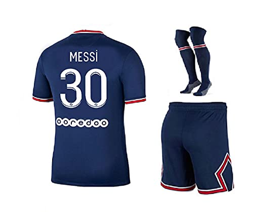 Paris Messi Blue Home 21/22 Soccer Kids Jersey + Shorts + Socks Set Kit Size X-Small (4-5 Years Old) for Youth
