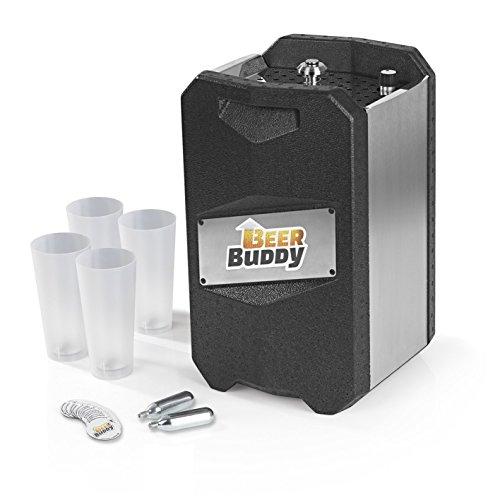 Beer Buddy Neue Version 2018 Bottoms Up-Bierzapfanlage ohne Strom für alle handelsüblichen 5 Liter Fässer-inkl. Zubehör u. Becher, Edelstahl, 5 liters, Silber Schwarz