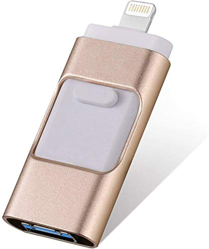 FLPLX iOS Flash Drive for iPhone 256GB,[3 in 1] iPhone Thumb Drive Memory Stick Storage USB3.0 Photo Picture Stick Jump Drive Mobile for iPhone External Storage/Android/PC/ipad (Gold)