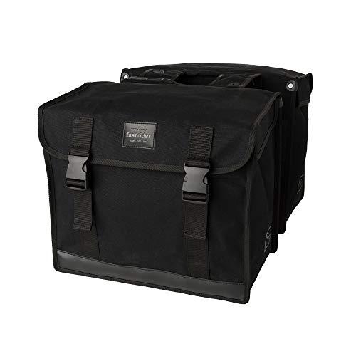 FastRider Canvas 94 Doppelte Fahrradtasche für Gepäckträger, 56L Seitentasche Fahrrad, 100% Kanevas Gepäckträgertasche, Wasserabweisend, Reflektierend, Einfache Montage - Schwarz