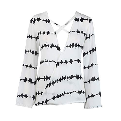 Vrouwen Zebra Print V-hals Lange mouwen T Shirt Chiffon Blouse Zomer Losse Tops L