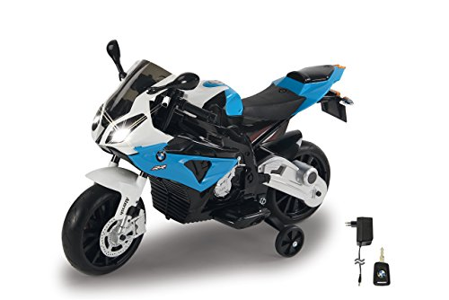 Jamara 460281 Ride-on motorfiets BMW S1000RR blauw 12 V-2 versnellingen, krachtige aandrijfmotor & accu-rijtijd tot 90 min, claxon & motorgeluid, LED-koplamp, steunwielen afneembaar, zijstandaard