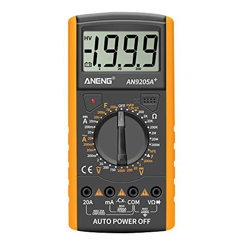 Montloxs DT9205A + Digitalmultimeter LCD-Anzeige 1999 Zählung Manueller Bereich Universalmessgerät AC DC-Widerstand Kapazität Transistor-Tester Multifunktionales Amperemeter mit NCV-Testmessgerät