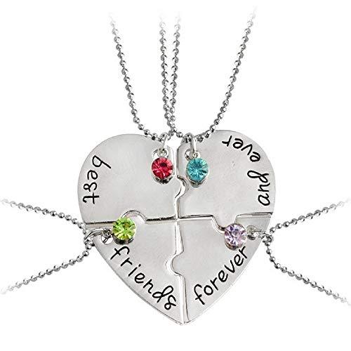 MJARTORIA Damen Mädchen Halskette Silber Farbe BFF Kette CZ Kristall Gravur Best Friends Forever Herz Puzzle Anhänger Freundschaftsketten für 4 für 2 (Herz Puzzle für 4)