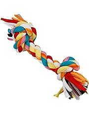 Ogquaton 1 Unids Novedad 2-Knot Trenzado Mordiendo Juguete de Cuerda, Perro de Forma Hueso Masticar Juguete