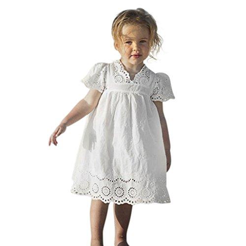 Kobay Kinder Baby Mädchen Blumendruck Spitze Prinzessin Hohle Kleid Kleidung Sommerkleid (140/6Jahr, Weiß)