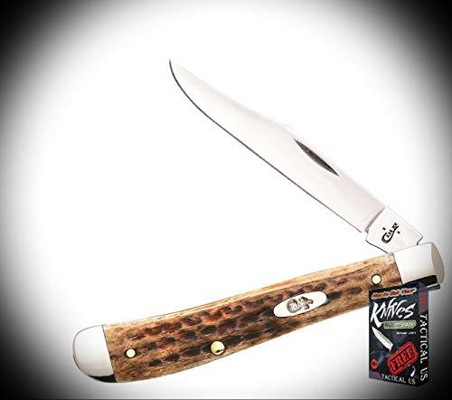 New Case Slimline Trapper Burnt Brown Bone Handle Folding Blade ProTactical Elite Knife 3383RT + Free eBook