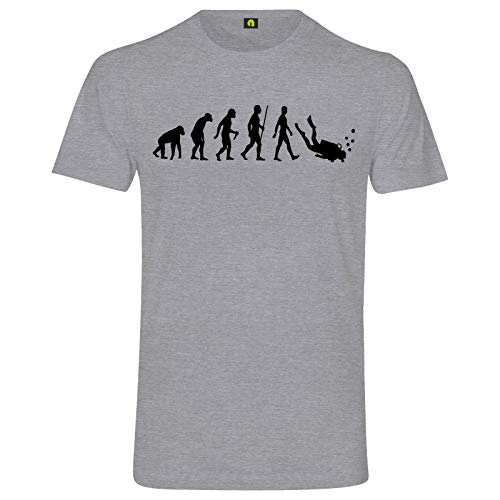 Evolution Tauchen T-Shirt | Taucher | Schnorcheln | Dive | Diving | Wasser Grau Meliert 2XL