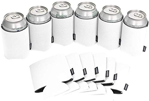 Koozie Can Cooler Blank Beer Koozie for Cans and Water Bottles, Bulk DIY Insulated Beverage Holder Personalized Gifts for Events, Bachelorette Parties, Weddings, Birthdays (White, 12)