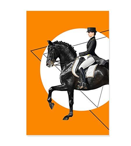 Carteles naranjas de jinete de caballo de doma moderna pintura en lienzo impresiones artísticas de pared para la decoración del hogar de la sala de estar 50X75Cm sin marco
