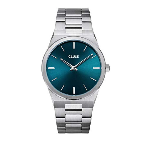 Cluse Herren-Armbanduhr CW0101503003 Vigoureux Edelstahl Silber Petrolblaues Ziffernblatt 40 mm 5 ATM