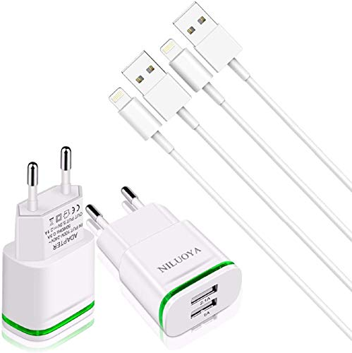 Niluoya Cargador Phone, 4-Pack 3M Cable y Dos Enchufe USB Movil de 2.1A/5V Pared Adaptador Replacement para iPhone XS MAX, SE, XR, X/10, 8/8 Plus, 7/7 Plus, 6/6S Plus, 5S/5C/5, iPad Air Mini Pro, iPod