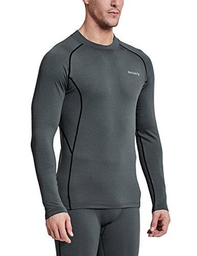 BALEAF Men's Thermal Compression Shirts Fleece Baselayer Long Sleeve Top Mock Neck Grey/Black Size L