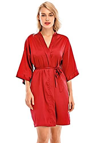 heekpek Bata Mujer Sexy Verano Bata de Mujer Saten Bata Kimono Corto Suave Albornoz Vestido Pijama Bata Ligera Mujer Ropa de Dormir