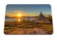22cmx18cm マウスパッド (テント衰退湖海岸太陽ディスクロマン主義) パターンカスタムの マウスパッド