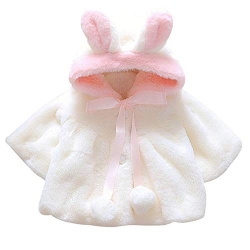 TMEOG Baby Kleinkind Mädchen Winterjacke Kinderjacken Fell Warm Winter Coat Mantel Jacke Dicke Warme Babykleidung (0-6 Monate, Weiß)